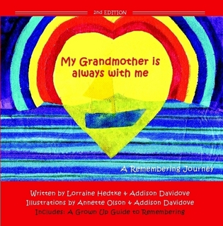 Cover of the book 'My Grandmother is Always With Me'. A bright yellow heart on a blue background.