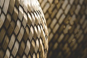 Close up photo of woven baskets