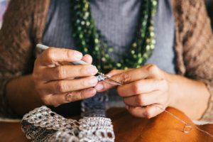 A woman crocheting